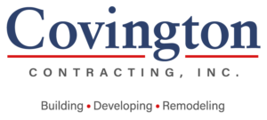 Covington Contracting logo in blue and gray for the luxury custom homebuilder in Hampton Roads Virginia