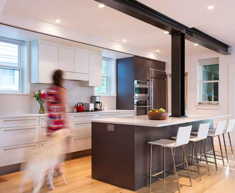 A woman and her dog in a modern kitchen renovation in Norfolk Virginia