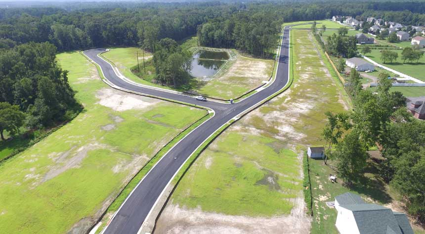 Aerial view of land development of The Landing in Virginia Chesapeake VA by Covington Contracting